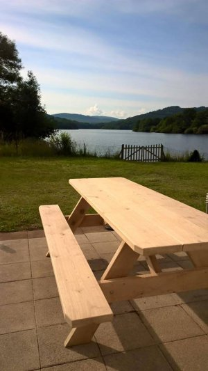 Stevige eiken picknicktafel 2,5 meter