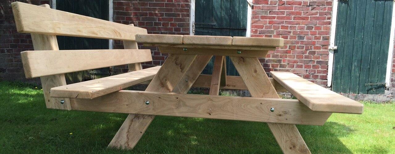vierkante picknicktafel met rugleuning