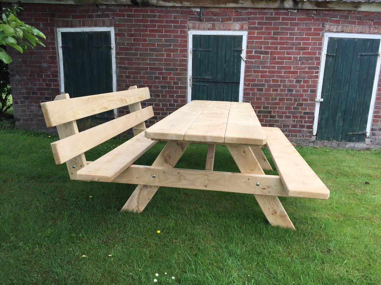 picknicktafel met rugleuning kopen handgemaakt in. Black Bedroom Furniture Sets. Home Design Ideas