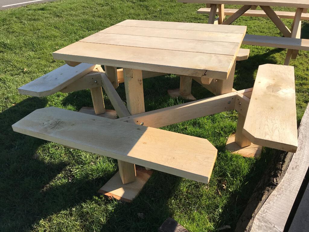 vierkante picknicktafel eikenhout