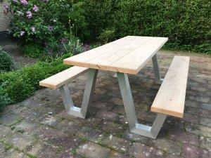 Eiken picknicktafel met aluminium frame